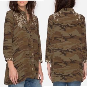 JOHNNY WAS Embroidered Camo Tunic Top